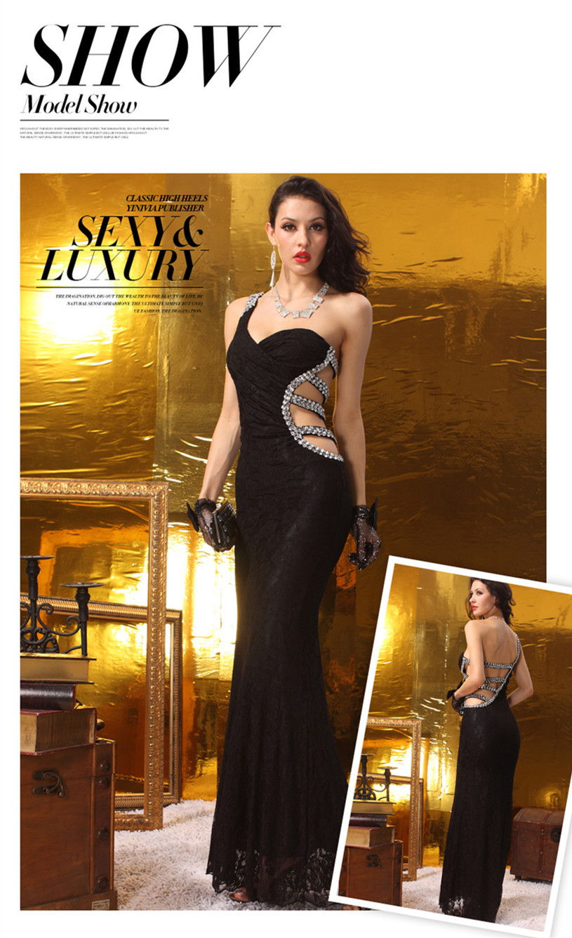 One shoulder Sleeveless Sexy big ass evening dress with open back long-in Evening  Dresses from Weddings   Events on Aliexpress.com  cdbcda6492c1