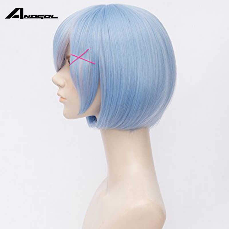Anogol Re: Zero zaczynając życie w innym świecie Rem stara krótka prosta niebieska peruka syntetyczna cosplay na kostium na halloween Party
