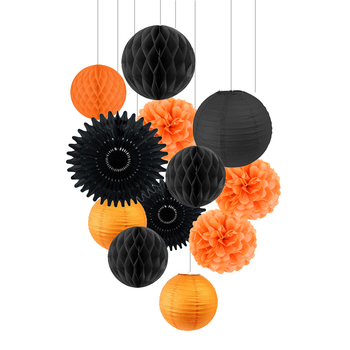 Orange Black Halloween Party Decoration Kit Paper Fans Lanterns Tissue Pom Pom Flowers Honeycomb Balls DIY Crafts Kids Yard 12pc