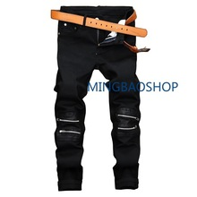 2019 Black zipper decorative casual pants for men stretch skin mens jeans fashions clothes joggers