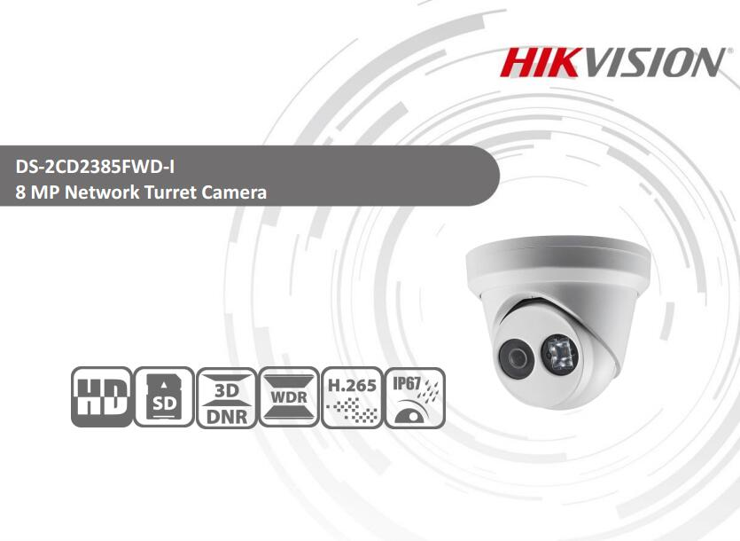 Free Shipping HIKVISION DS-2CD2385FWD-I H.265 8MP 4K Network IR Turret Camera CCTV Serucity IP Camera