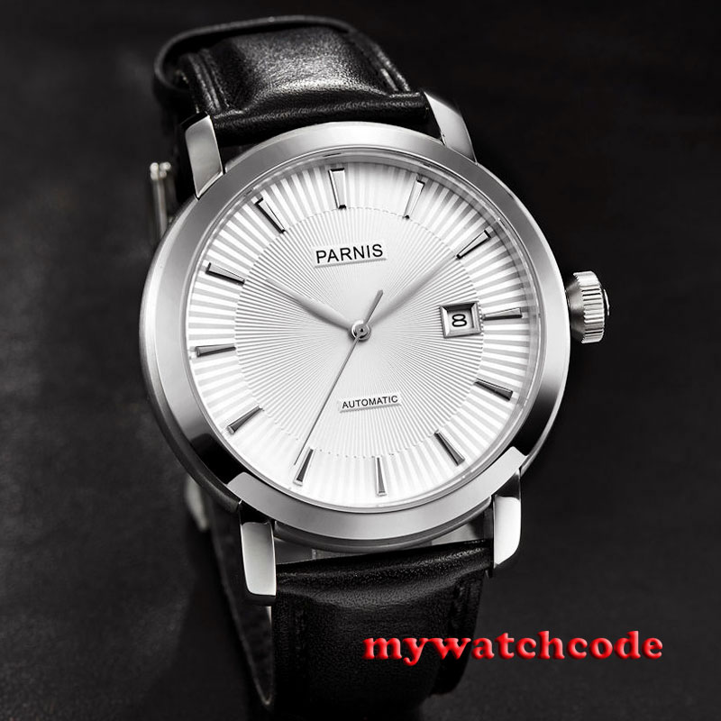 41mm Parnis white dial date Sapphire Glass miyota Automatic mens wristwatch P616 38mm parnis white dial date sapphire glass miyota automatic mens watch p723