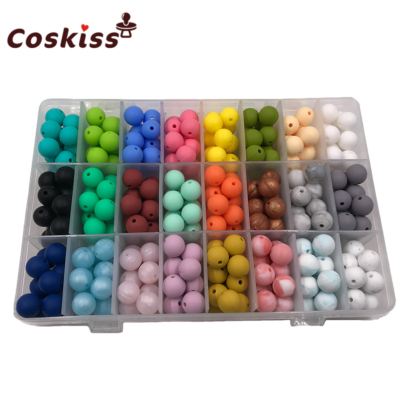 50pcs Silicone Beads 12mm Eco-friendly Sensory Teething Necklace Food Grade Mom Nursing DIY Jewelry Baby Teethers