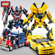 GUDI 2in1 Transformation Robot Series Car Truck Dinosaur King Kong Building Blocks Sets Bricks Educational Toys for Children