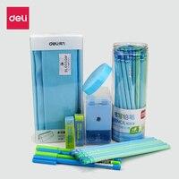 Deli Nuovo arriva set regalo della cancelleria 2B matite per la scrittura scuola di forniture per ufficio carino temperamatite grande cassa di matita del gel penne