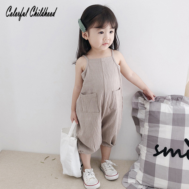 7099eed763b1 Vintage short overalls for baby boy girls romper solid color ...
