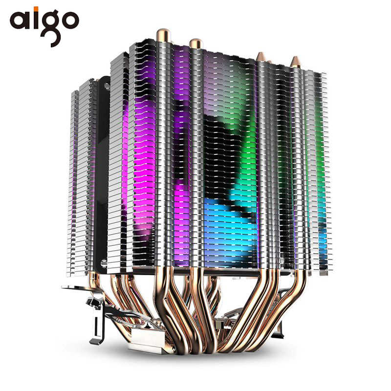 Aigo L6 CPU Cooler 6 Pipa Panas Twin-Tower Heatsink 90 Mm LED Fan 4pin CPU Kipas Pendingin untuk komputer LGA775/115X/1366 AM2/AM3/AM4