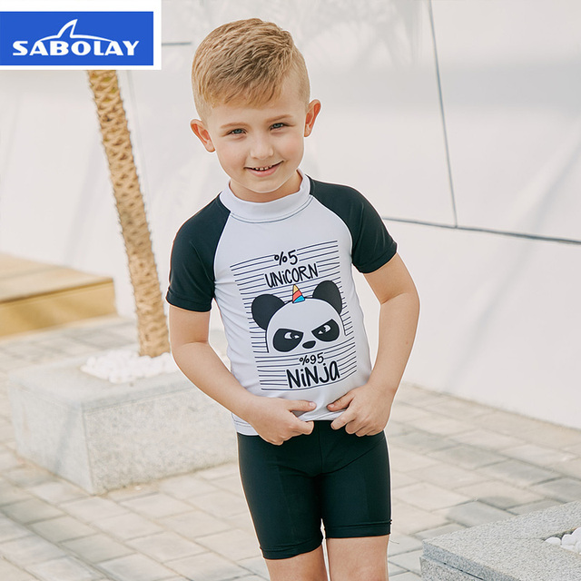 0f5576bb30 Children Cartoon Swimwear Boy Swimsuit Two Piece Bathing Suits Panda Print  Short Sleeve Swimming Suit Kids Surfing Swim Wear K
