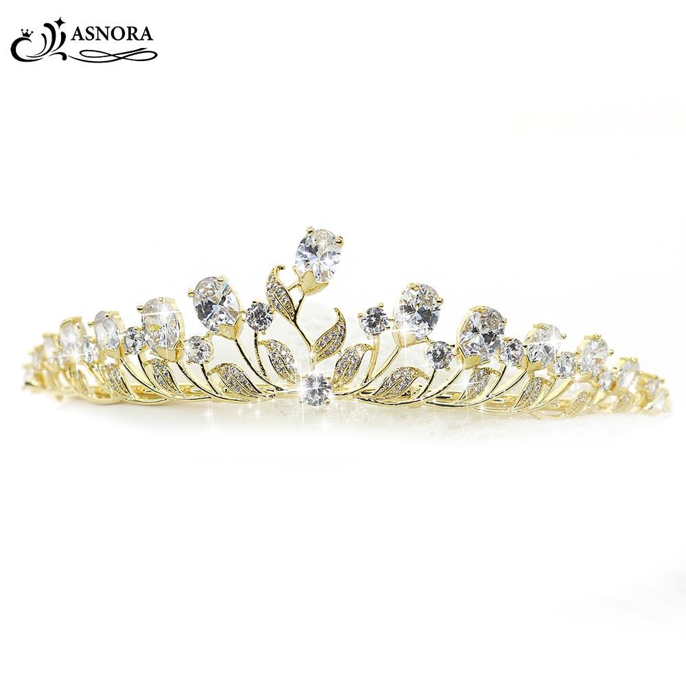 купить ASNORA Wedding Hair Accessories Gold Crowns Bridal Tiaras Zircon Shiny Crystals Princess Tiaras Girls' Crown недорого