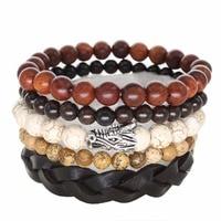 5pcs Brown Wrap Real Leather Bracelet Men Beaded Friendship Bracelets Bangles For Women Pulseira Masculina Mujer