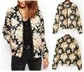 2014 nuevas mujeres de la moda del o-cuello estampado de flores acolchado chaqueta acolchada chaqueta corta acolchada fina chaqueta de bombardero de pilotos abrigos Tops