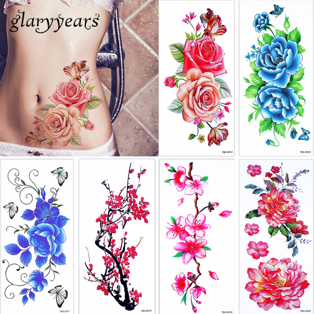 145 Glaryyears 3 Pièceslot Jolie Fleur En Fleurs De Couleur Dessin Corps Tatouage Temporaire Bleu Enchantress Jambe Bras Art Tatouage