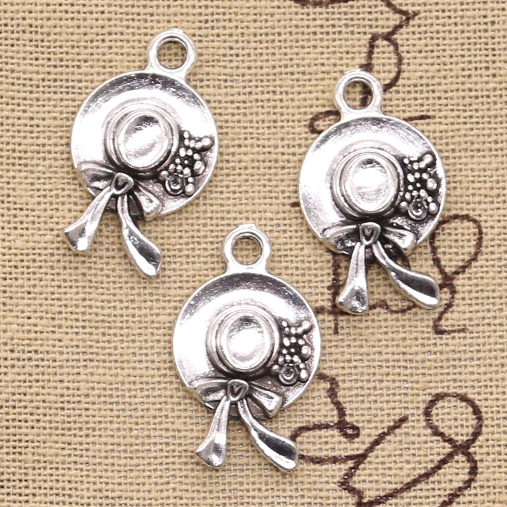 Hat Charms Antique Pendant Tibetan Silver Vintage Handmade Jewelry Fit DIY 16x25mm 6pcs title=