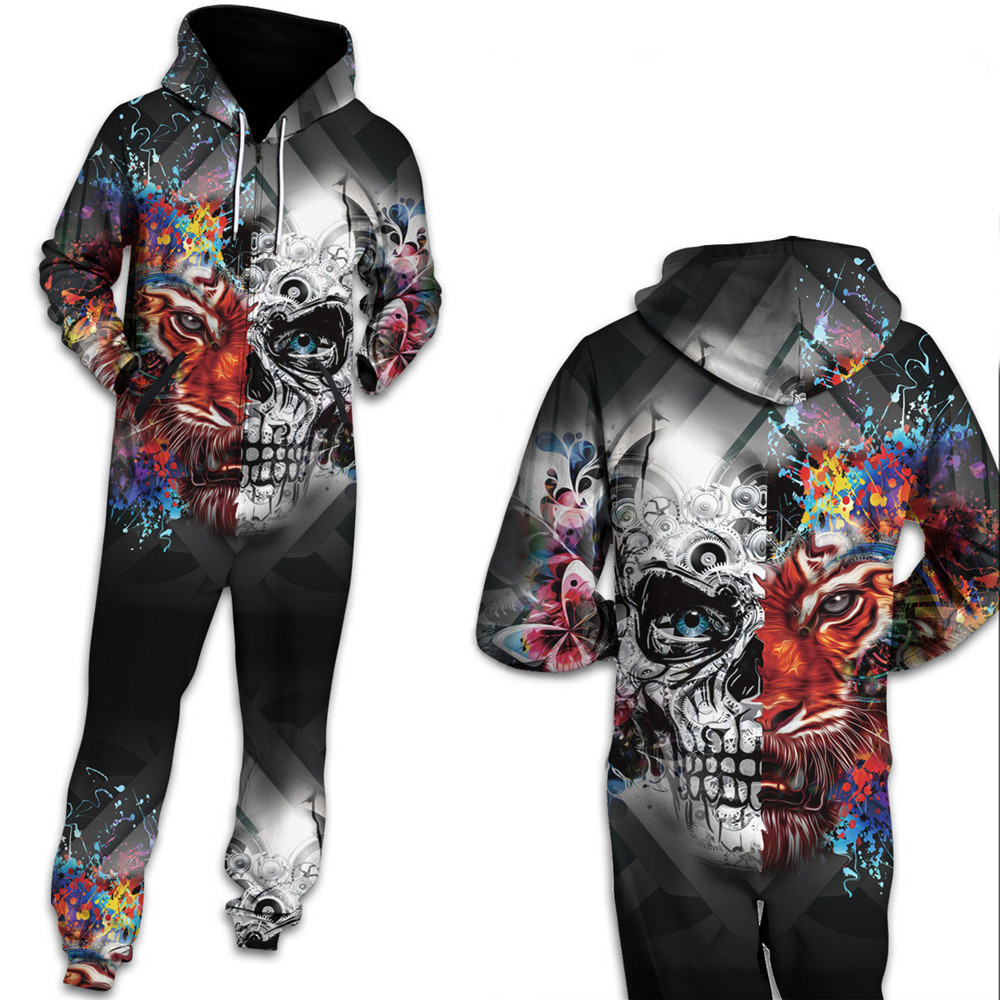 f1c1d4e47ff8 Qybian Gothic Skull Hooded Women Men Autumn Winter Onesies Jumpsuits Hooded  Rompers Tracksuit Sweatpants Free Shipping