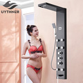 Uythner Waterfall Rain Shower Head Column Jets Tub Spout Hand Spray 4 Way Thermostatic Shower Pannel