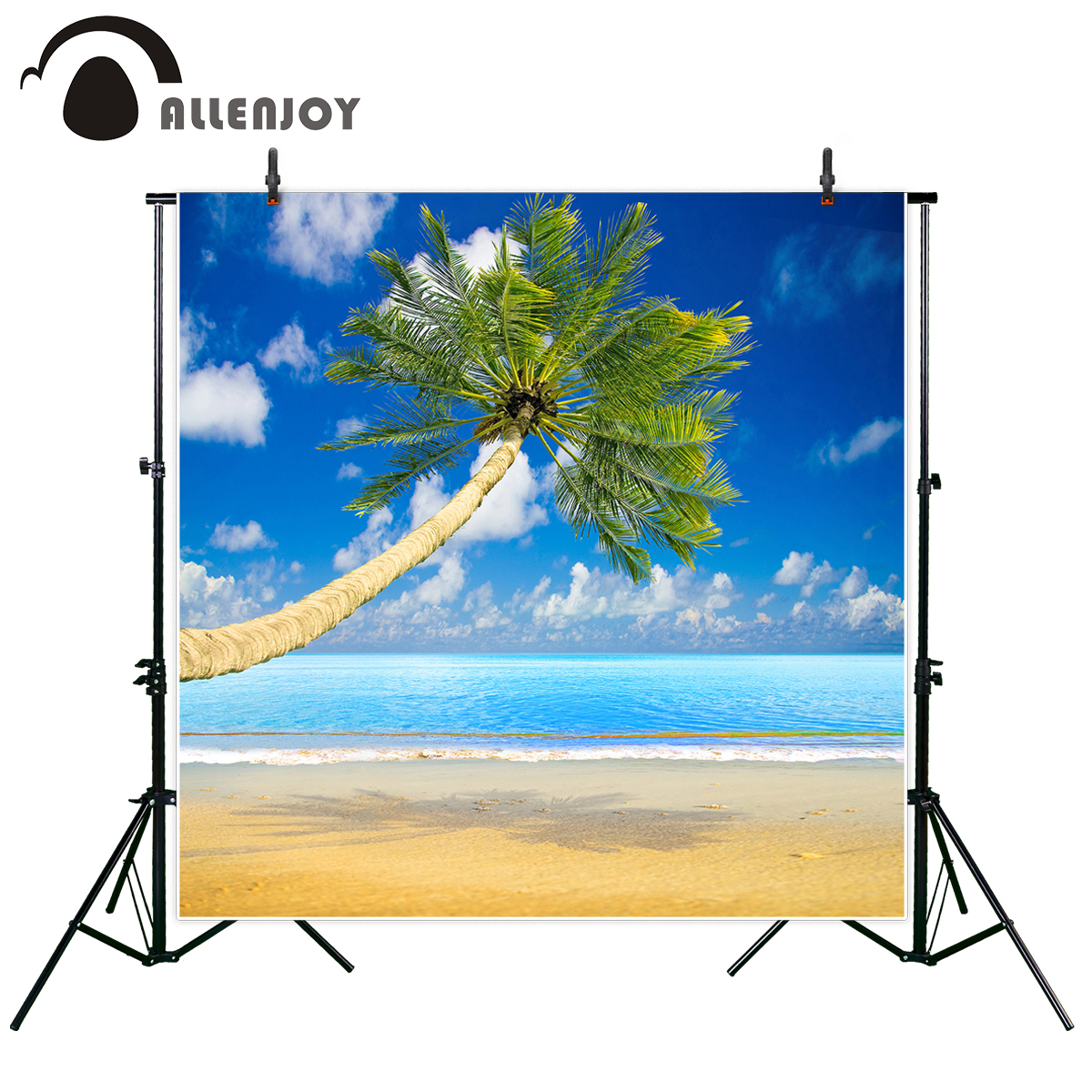 Allenjoy photographic background leaf beach Caribbean island sun sea tree cloud vacation tourism photocall professional custom image