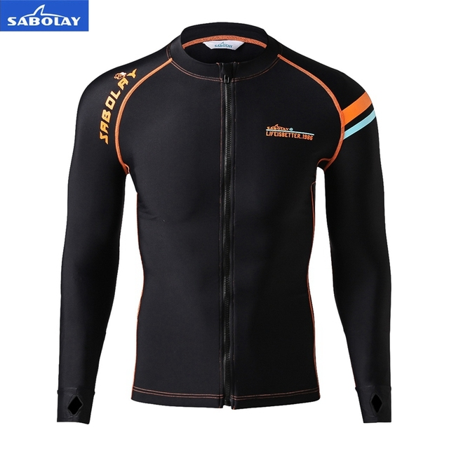 SABOLAY Men Surf Clothing Sun Protection High Elastic zipper Lycra T-Shirt Rash Guards  Long Sleeved Tight Fitting Diving Jacket