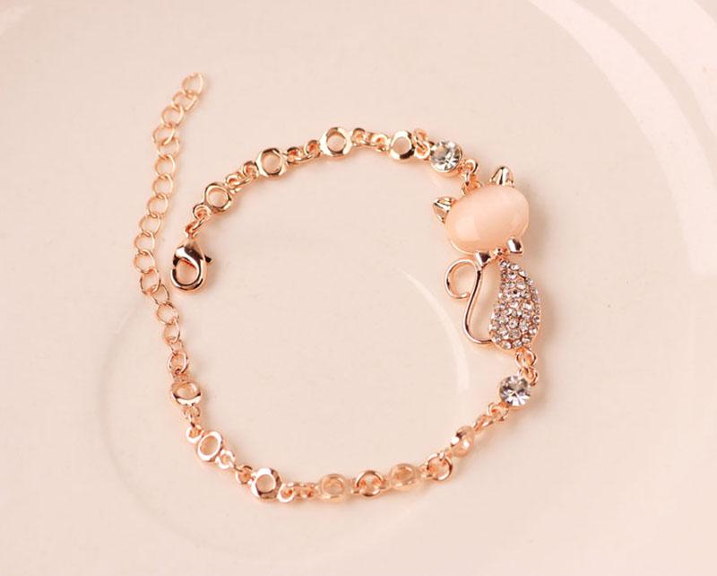HTB1AlJgSFXXXXcNXFXXq6xXFXXXW - Rose Gold Alloy Lovely Cat Bracelets for Women Femme Children Girl Gift Jewelry Charms Crystal Opals Rhinestone Bangle Chain