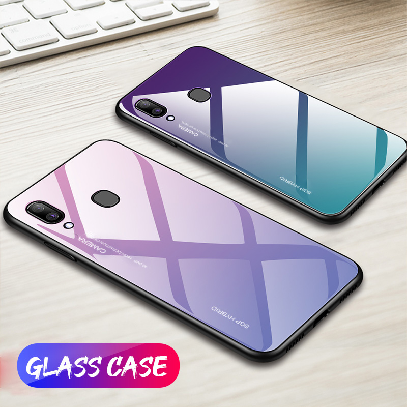 Tempered <font><b>Glass</b></font> <font><b>Cases</b></font> For <font><b>Samsung</b></font> Galaxy A20 <font><b>Case</b></font> A50 A30 A20E A20 A10 A40 A70 M30 Back Gradient Bumper <font><b>A</b></font> 10 20 E 30 50 <font><b>70</b></font> coque image