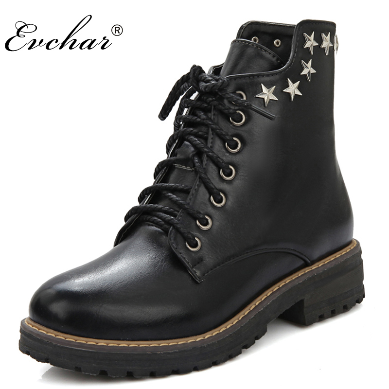 New Hot Sale Women Boots Lace-Up Studded Rivets Ankle Boots Thick low Heels Platform Shoes Motorcycle Boots Size 34-43 plus size 34 43 2016 patch color ankle boots thick high heels skid proof platform shoes woman rivets lace up fall winter boots