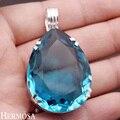 Cuento de hadas hermosa birthstone de marzo waterdrop plata esterlina del sólido 925 océano azul colgante, collar de 2 1/2 inches ny88
