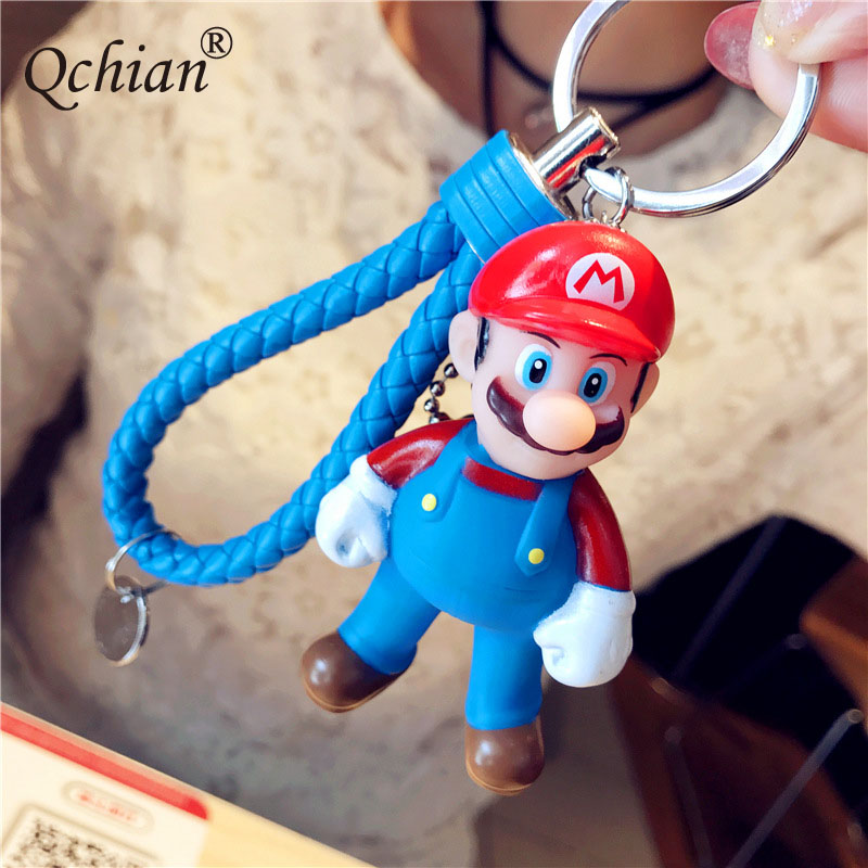 Beautiful Bag Pendant Jewelry Keyring Gift Popular Games Super Mary Mario Mini Resin Model keychain цена