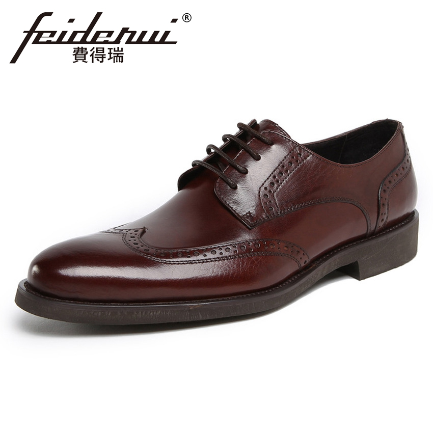 2018 Vintage Genuine Leather Men's Carved Party Oxfords Round Toe Derby Man Handmade Formal Dress Wedding Brogue Shoes YMX420 цена и фото
