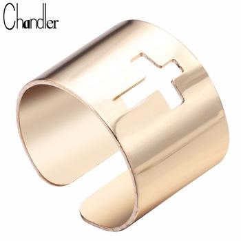 10pcs Silver Gold Plated Wide Band Ring Open Adjustable Cross Geometrical Bib Punk Jewelry Knuckle Finger HipHop Bijoux For Wome