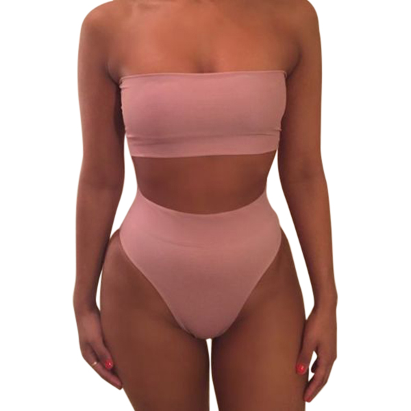 New 1 Set Women Swimsuit Swimwear Bikini Solid Color Fashion Breathable for Beach Holiday XD88 1
