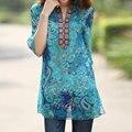 2017 Summer Plus Size 5XL T Shirt Women Top Vintage Boho Style Print Women Chiffon T-shirt Turtleneck Casual Loose Blusas Femme