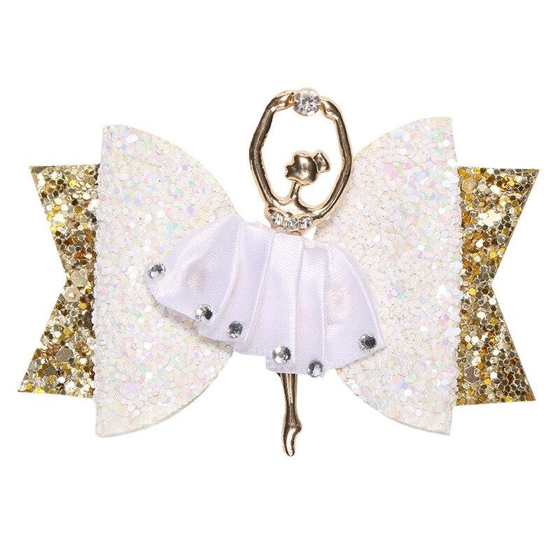 Ballerina Glitter Hair Bows For Girls Shiny Princess Hair Clips Cute Handmade Hairpins Kids Barrettes Hair Accessories