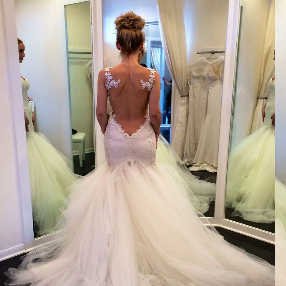 Nude Back Sexy Mermaid Lace Wedding Dresses Fish Tail Sweetheart Bridal Gowns Tulle 2015 Best Selling Vestido De Noiva Longo In From