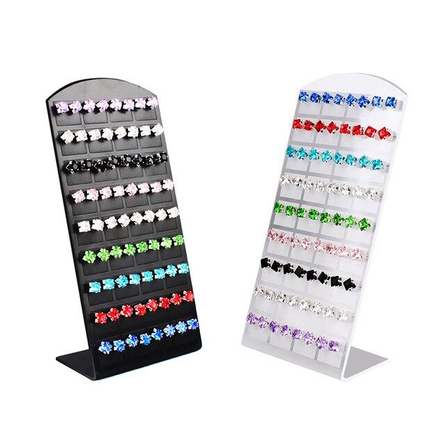 36 Paare/satz Schwarz Kunststoff Schmuckständer Organizer Ohrringe Ohrstecker Display-ständer Schaufenster Schmuck-Display Rack Für Frauen #4681