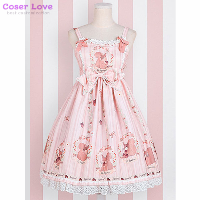 Sweet Lolita JSK Dress Pine Forest Story Lace Trim Bow Ruffle Cotton Linen Lolita Jumper Skirt