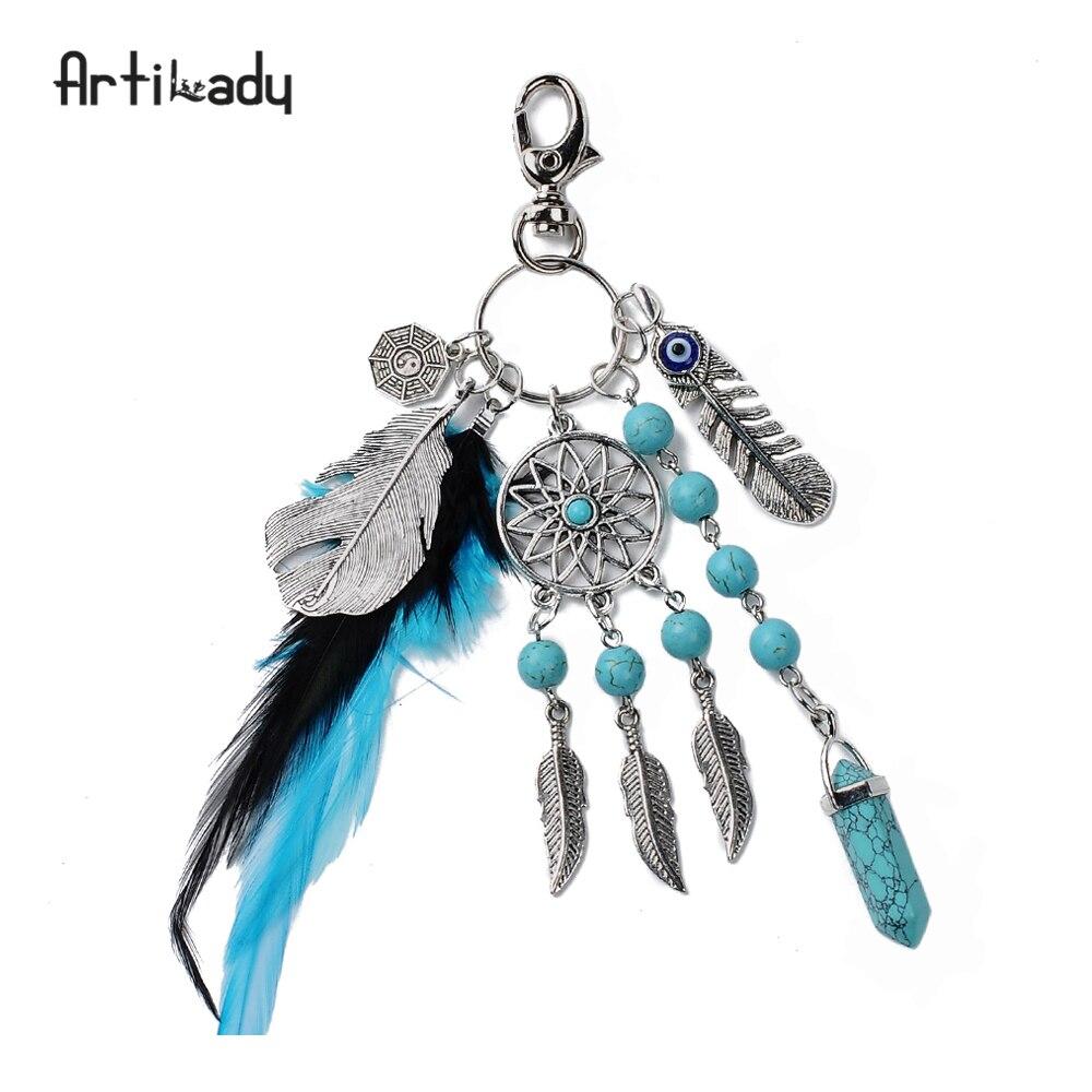 Artilady Ловец снов Шарм брелок Бохо украшения перо листьев брелок для женщин ювелирные изделия подарок дропшиппинг