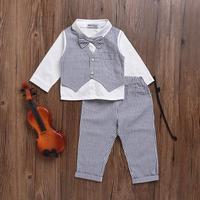 VTOM Newborn Baby Clothing Sets Cotton Gentleman Autumn Spring Fashion Tops + Pants 2PCS Baby Clothes 0 24M