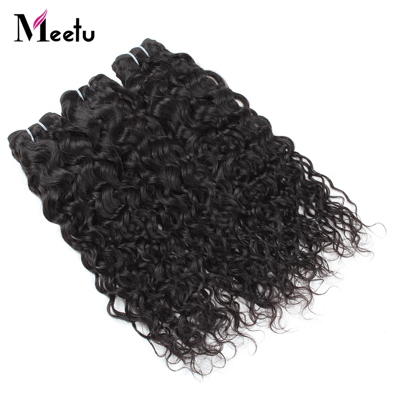 Meetu Hair Malaysian Water Wave 3 Bundles Human Hair Weave Natural Color 100% Non Remy Hair Extension 10-28 Free Shipping