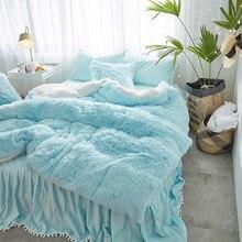 Blue Pink Gray White Purple Mink Velvet Girls Bedding Set Soft Berber Fleece Duvet Cover Thick Bed Sheet Skirt Pillowcases