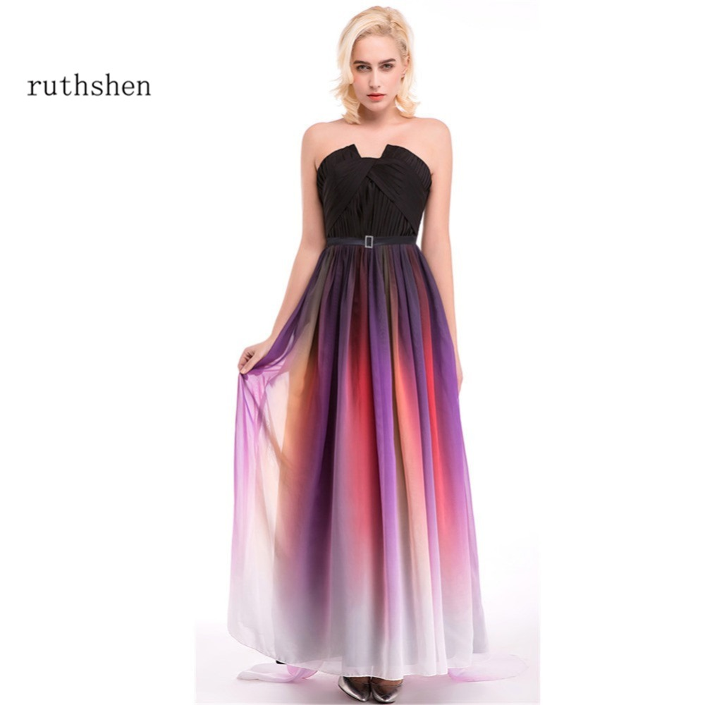 ruthshen Evening Dresses Real Photo Pleated Gradient Ombre Long Chiffon vestido de festa longo Party Prom