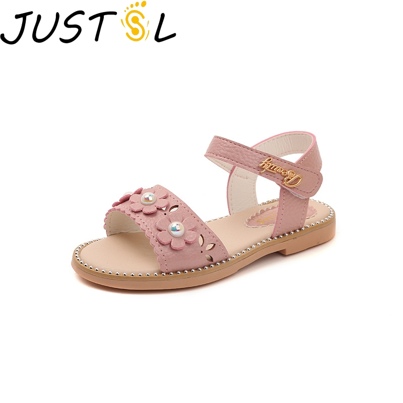 JUSTSL 2019 New Summer Girls Sandals Flowers Soft Bottom Children's Shoes Children's Princess Beach Shoes Size 26-36