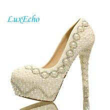 Nueva llegada de la perla blanca de la manera de las mujeres bombas de la boda de plataforma de tacón alto de la boda zapatos gentlewomen zapatos de novia