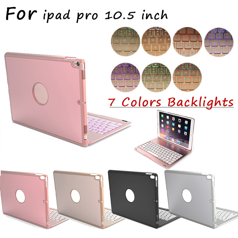 For APPLE IPAD PRO 10.5 keyboard case,7 colors Backlit Aluminum Slim mini lithium battery Bluetooth Wireless Keyboard Cover aluminum keyboard cover case with 7 colors backlight backlit wireless bluetooth keyboard