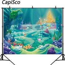 Capisco маленькая Русалочка Принцесса под морем кровать замок кораллы фотография Фон детский душ день рождения, вечеринка, фото фон