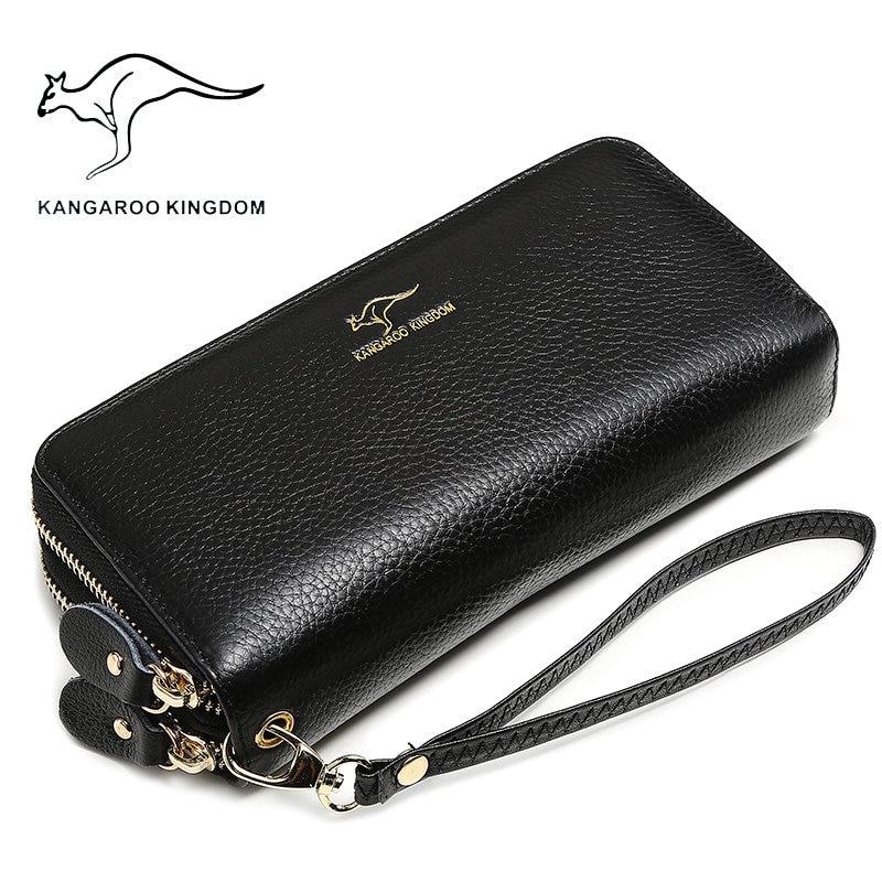 Kangaroo kingdom de luxe femmes portefeuilles en cuir véritable à long double fermeture à glissière lady bourse d'embrayage célèbre marque portefeuille