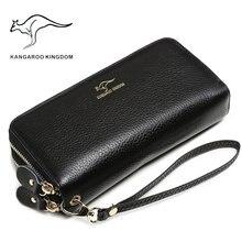 Canguru reino luxo mulheres carteiras de couro genuíno longo duplo zíper senhora embreagem bolsa famosa marca carteira