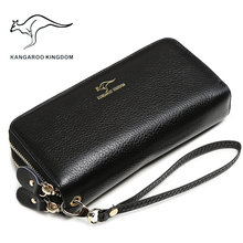 KANGAROO KINGDOM luxurious girls wallets real leather-based lengthy double zipper woman clutch purse well-known model pockets