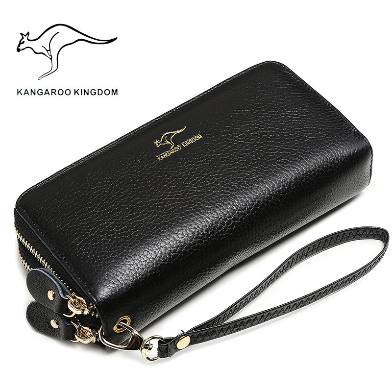 KANGAROO KINGDOM Luxury Women Wallets Genuine Leather Long Double Zipper Lady Clutch Purse Famous Brand Wallet