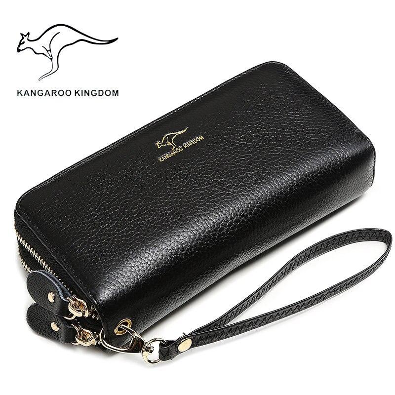 Kangaroo kingdom lusso donne portafogli in vera pelle lungo doppia cerniera signora borsa della frizione famoso raccoglitore di marca