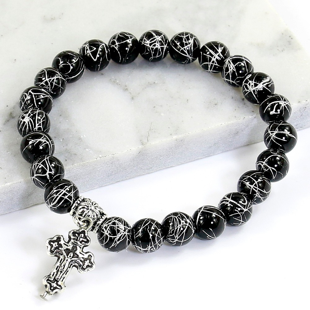 Silver Wire Plating Black Onyx Beads Bracelet Cross Pendent Charm ...