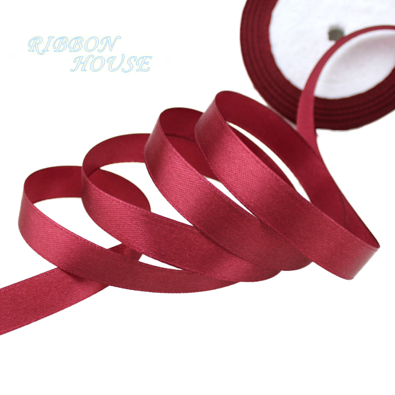 25 ярдов/рулон) атласная лента оптом, подарочная упаковка, рождественские украшения сделай сам, с лентой, с местом для рулон ткани(6/10/12/15/20/25/40 мм - Цвет: Бургундия